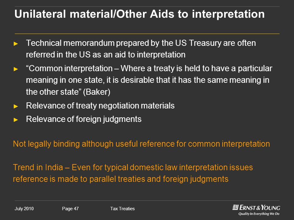 Unilateral material/Other Aids to interpretation