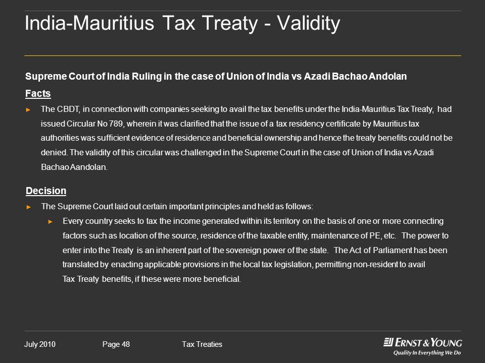 India-Mauritius Tax Treaty - Validity