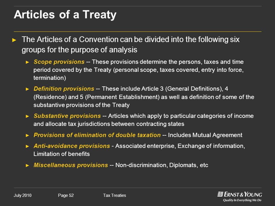 Articles of a Treaty The Articles of a Convention can be divided into the following six groups for the purpose of analysis.