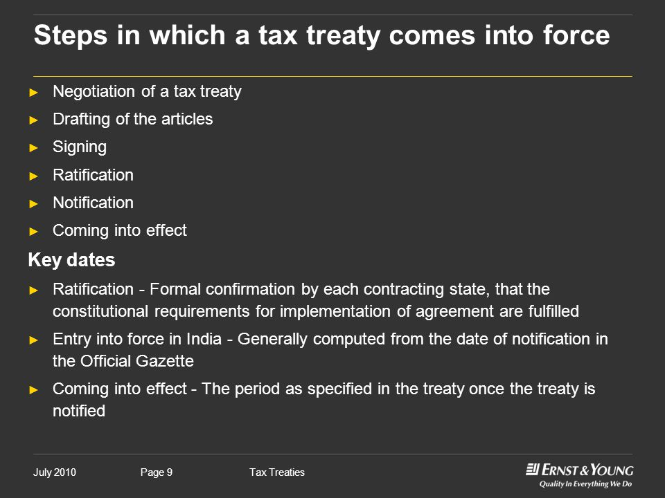 Steps in which a tax treaty comes into force