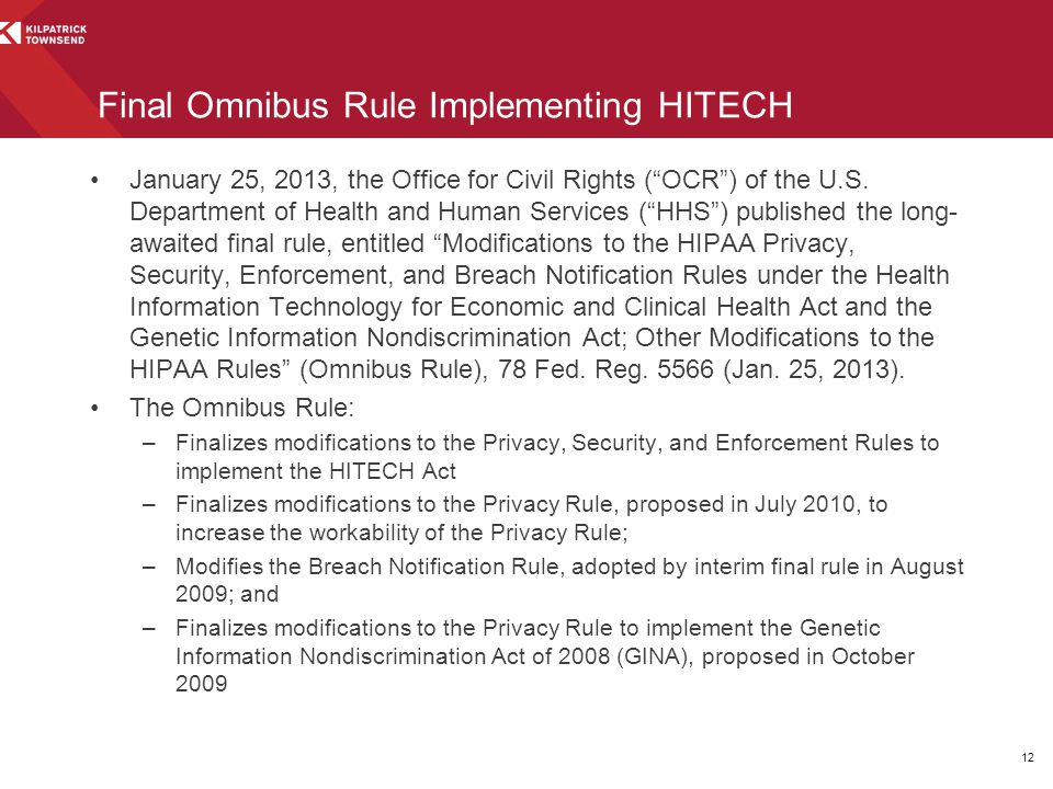 Final Omnibus Rule Implementing HITECH