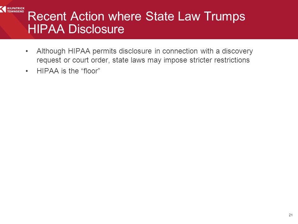 Recent Action where State Law Trumps HIPAA Disclosure
