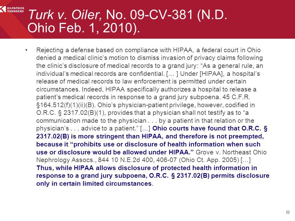 Turk v. Oiler, No. 09-CV-381 (N.D. Ohio Feb. 1, 2010).
