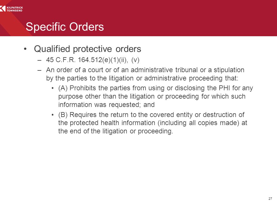 Specific Orders Qualified protective orders