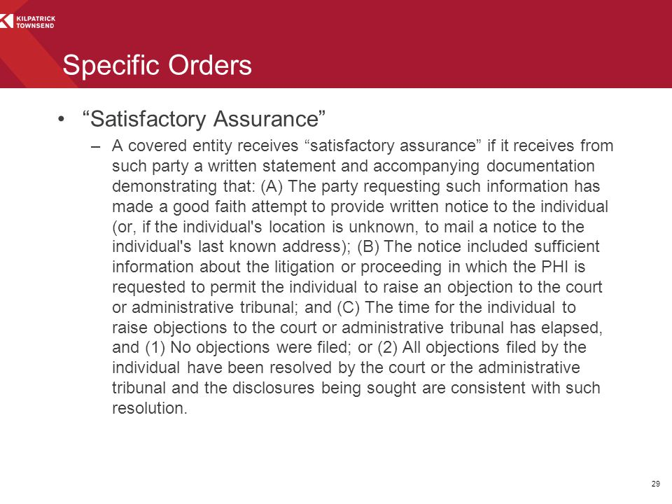 Specific Orders Satisfactory Assurance
