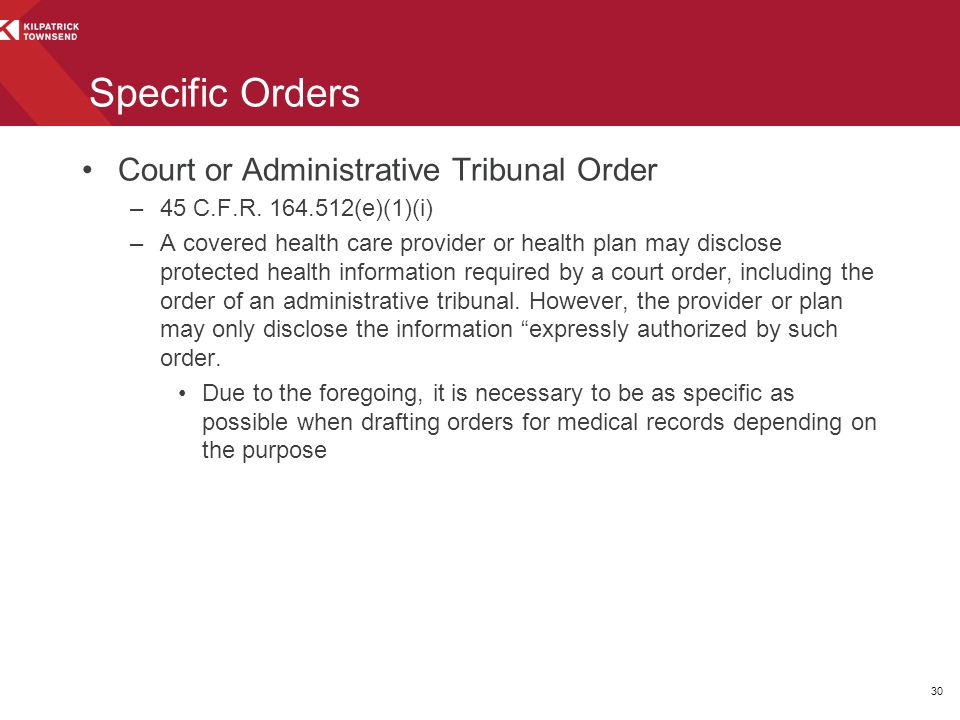 Specific Orders Court or Administrative Tribunal Order