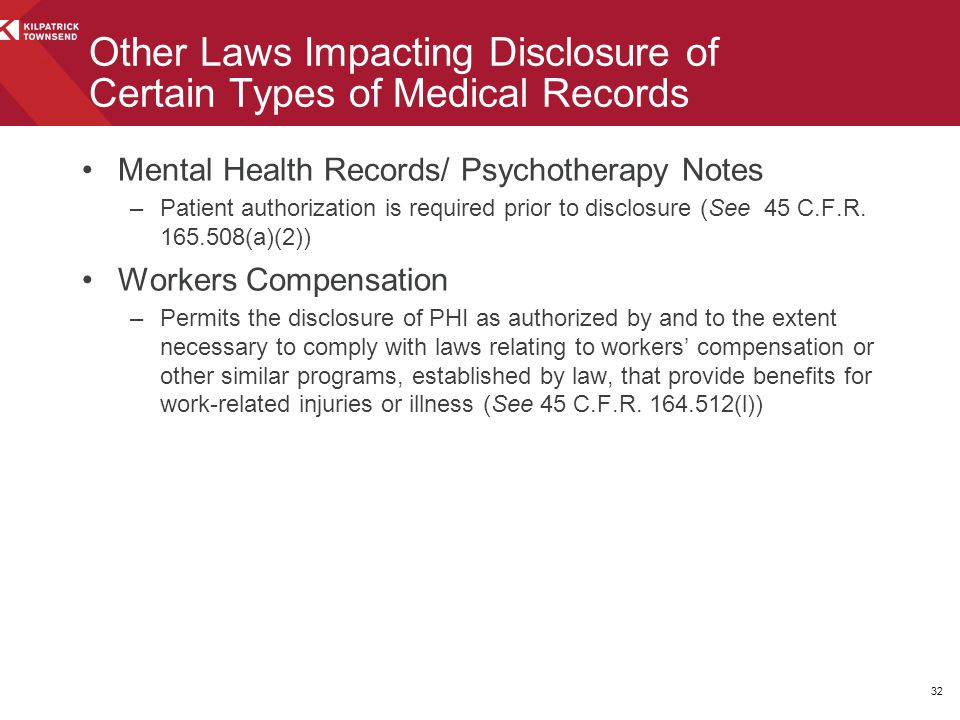 Other Laws Impacting Disclosure of Certain Types of Medical Records