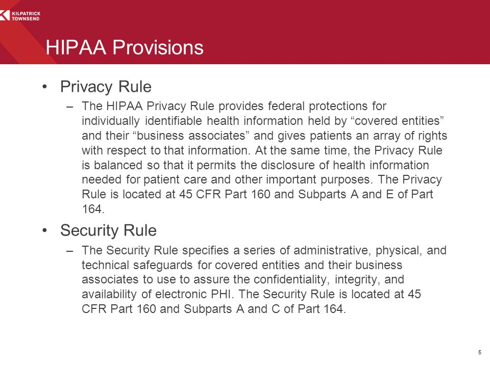 HIPAA Provisions Privacy Rule Security Rule