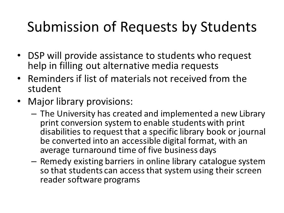 Submission of Requests by Students