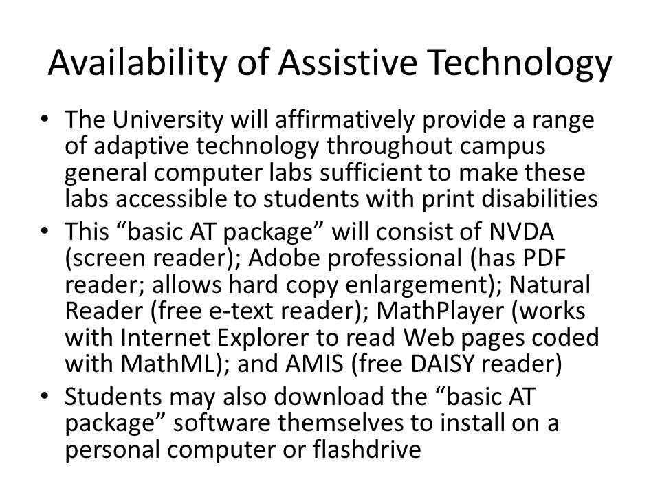 Availability of Assistive Technology