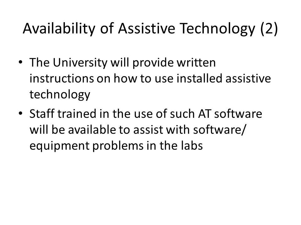 Availability of Assistive Technology (2)