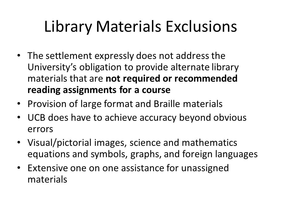 Library Materials Exclusions