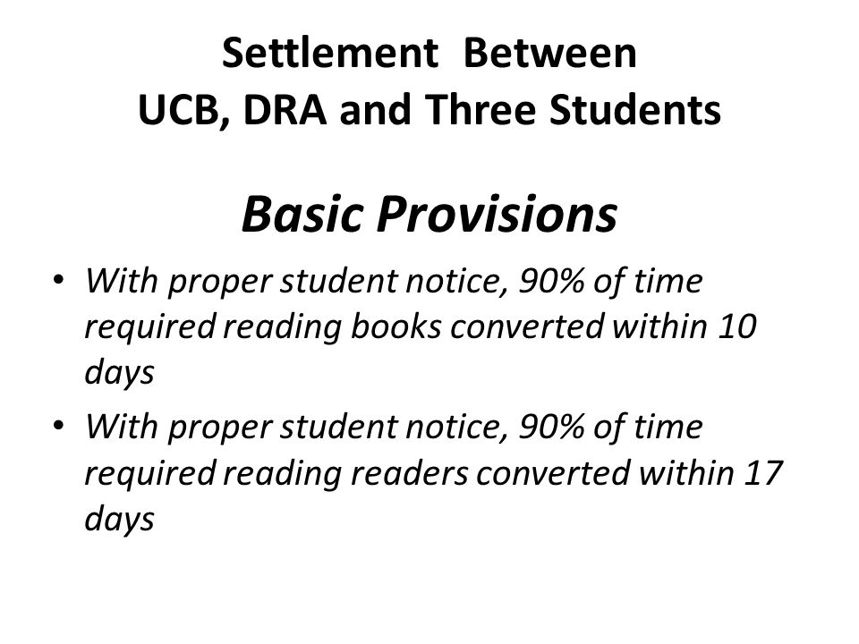 Settlement Between UCB, DRA and Three Students