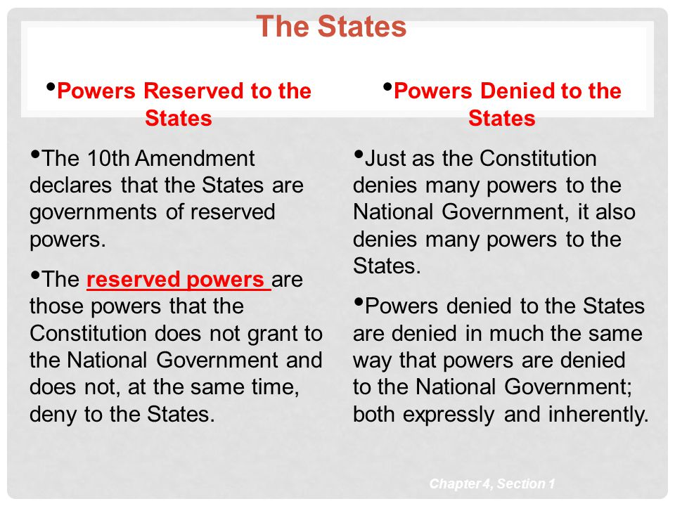 Powers Reserved to the States Powers Denied to the States