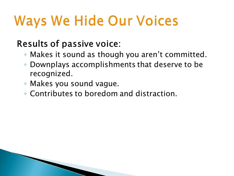 Ways We Hide Our Voices Results of passive voice: