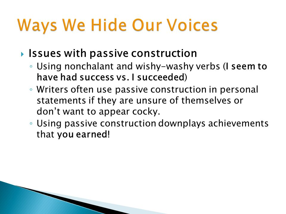 Ways We Hide Our Voices Issues with passive construction