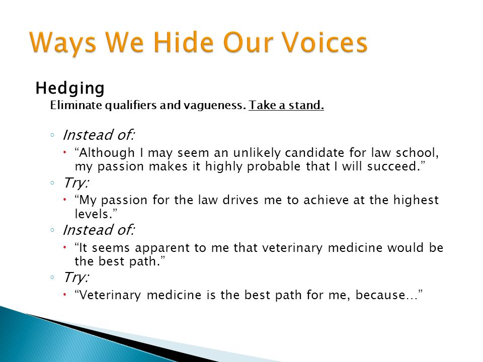 Ways We Hide Our Voices Hedging Instead of: Try:
