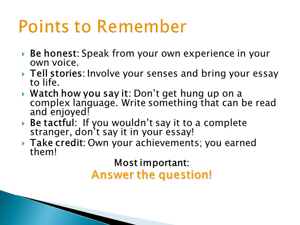 Points to Remember Answer the question!