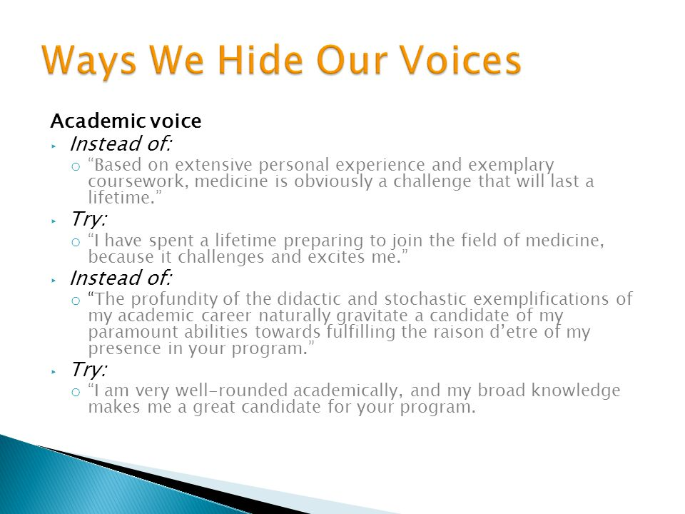 Ways We Hide Our Voices Academic voice Instead of: Try:
