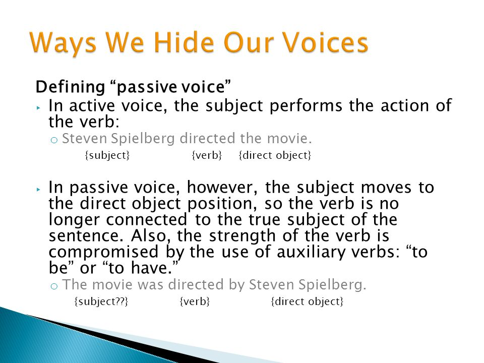 Ways We Hide Our Voices Defining passive voice