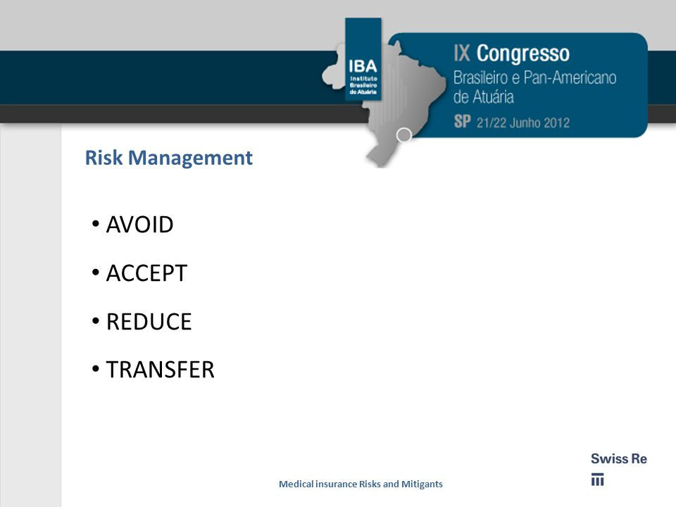 AVOID ACCEPT REDUCE TRANSFER Risk Management