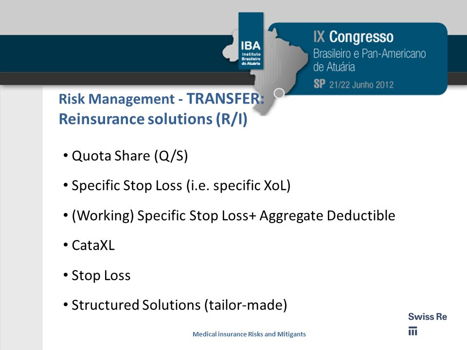 Risk Management - TRANSFER: Reinsurance solutions (R/I)
