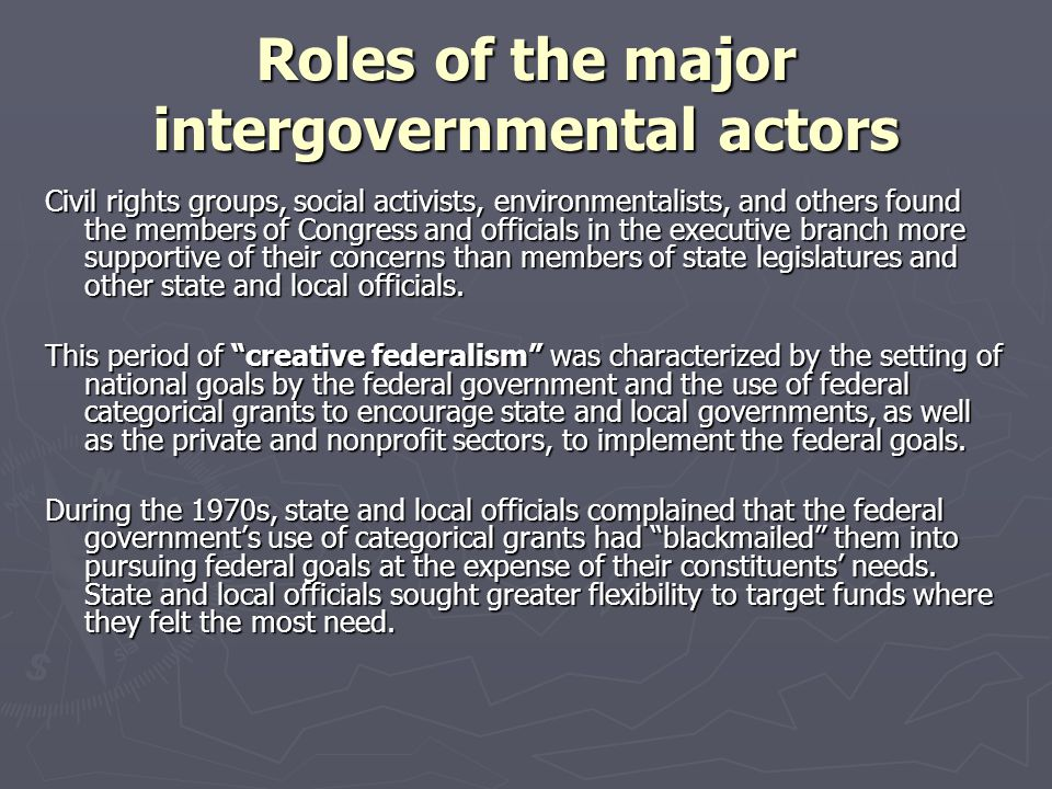 Roles of the major intergovernmental actors