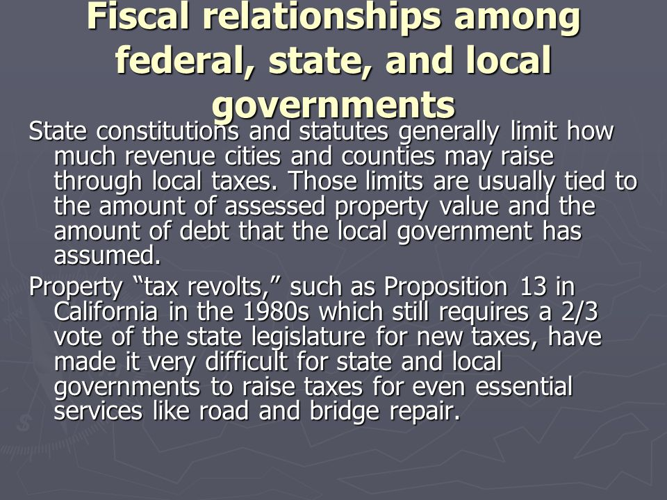 Fiscal relationships among federal, state, and local governments
