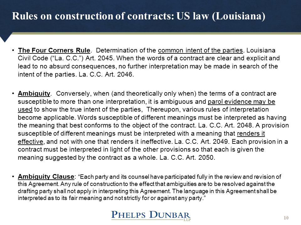 Rules on construction of contracts: US law (Louisiana)