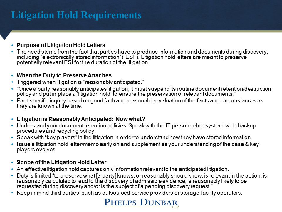 Litigation Hold Requirements