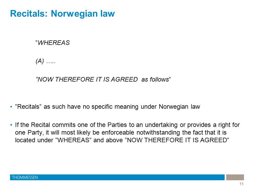 Recitals: Norwegian law