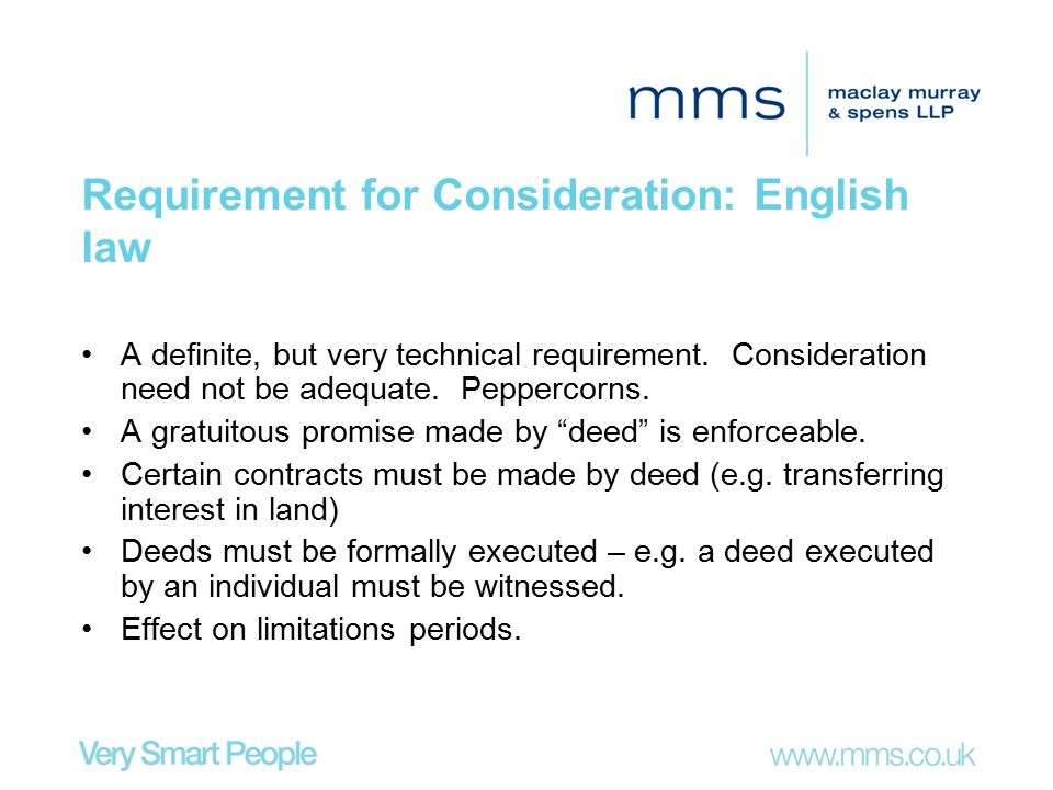 Requirement for Consideration: English law