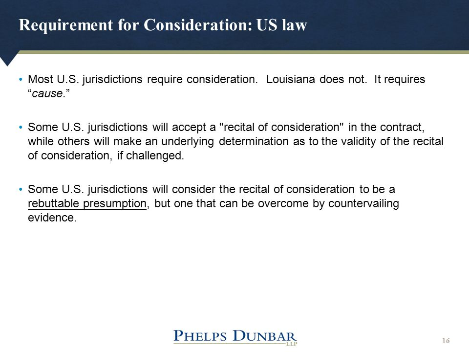 Requirement for Consideration: US law