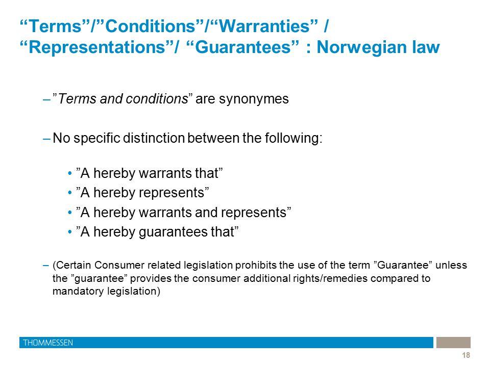 Terms / Conditions / Warranties / Representations / Guarantees : Norwegian law