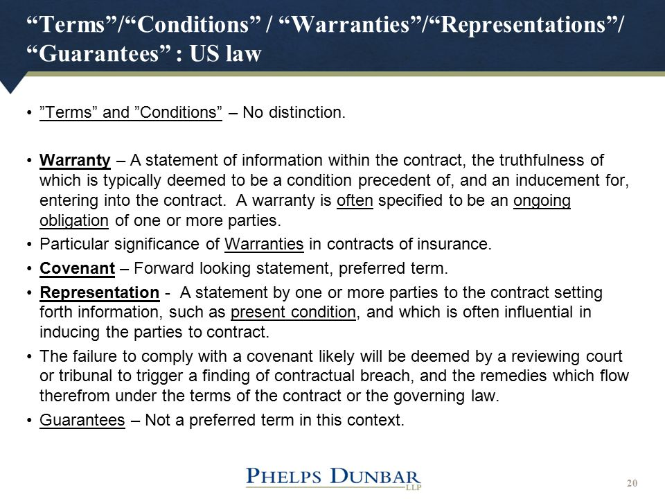 Terms / Conditions / Warranties / Representations / Guarantees : US law