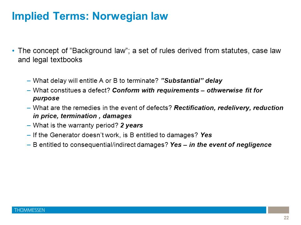 Implied Terms: Norwegian law