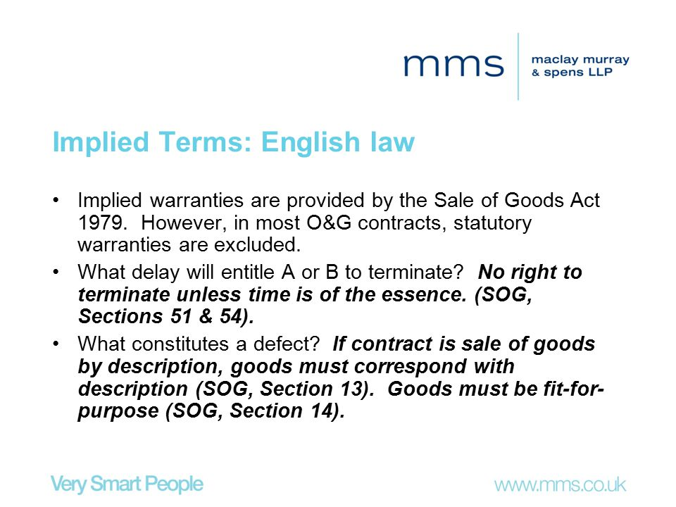 Implied Terms: English law