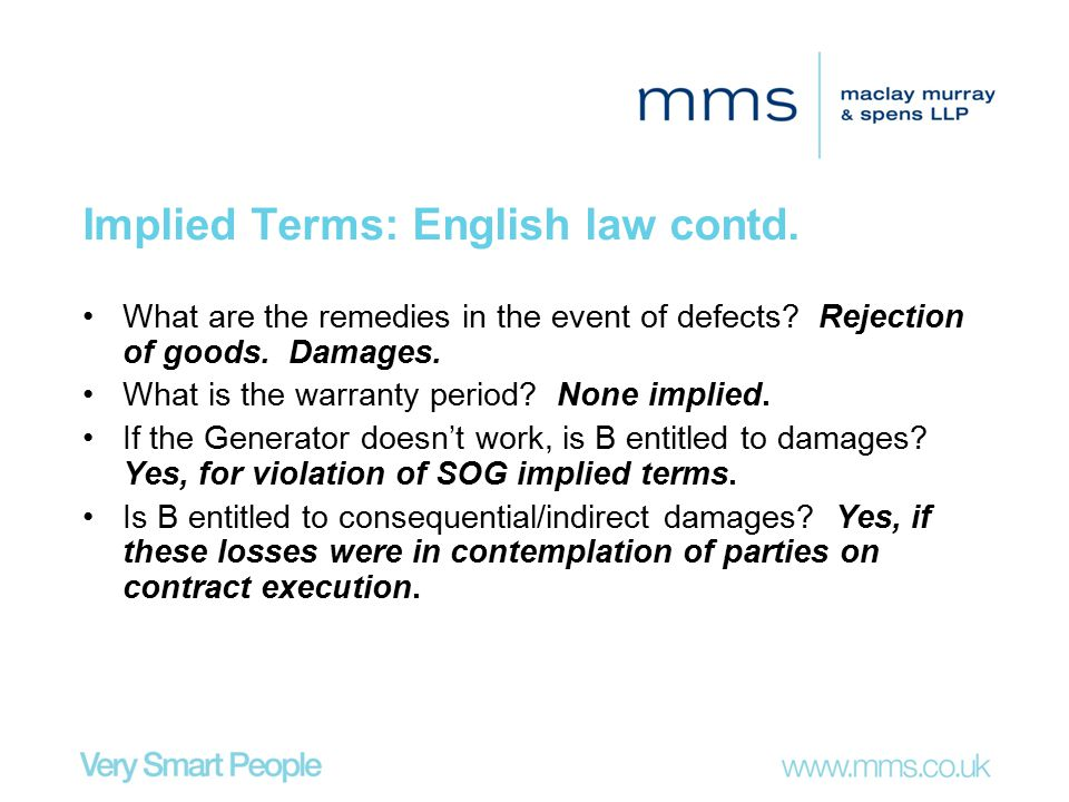 Implied Terms: English law contd.