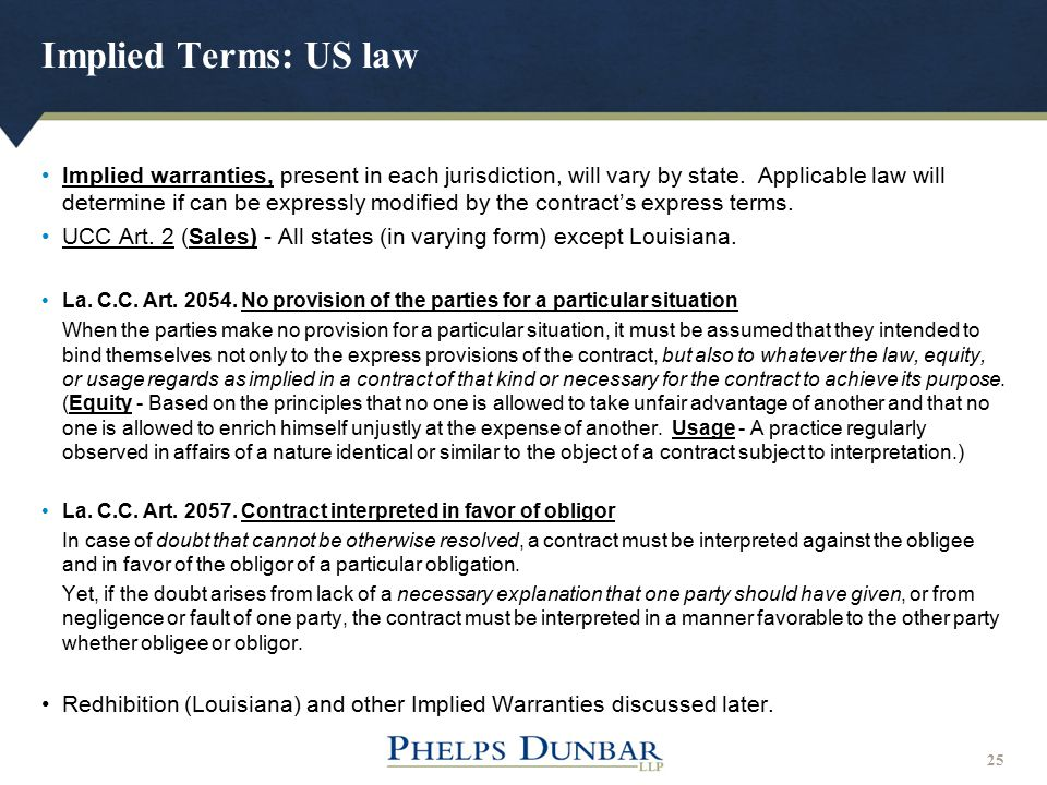 Implied Terms: US law