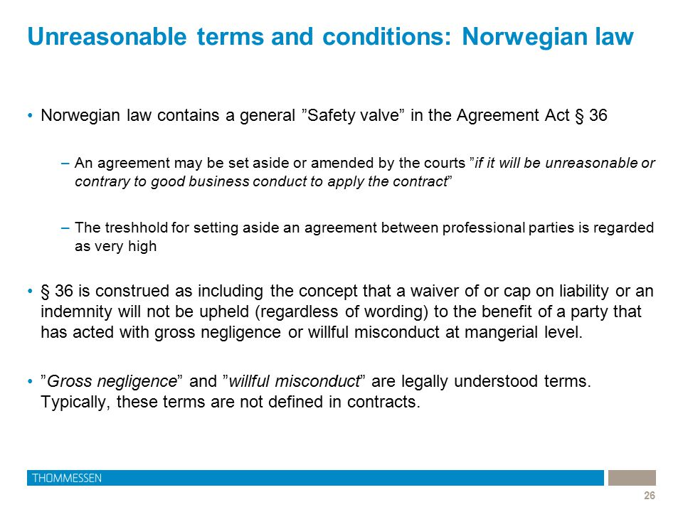 Unreasonable terms and conditions: Norwegian law