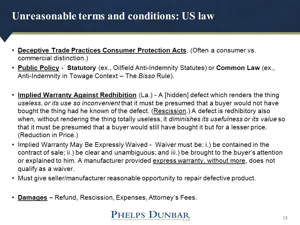 Unreasonable terms and conditions: US law