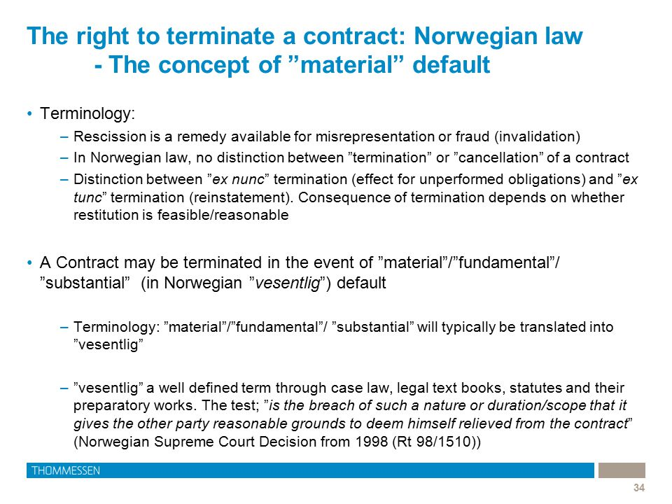 The right to terminate a contract: Norwegian law
