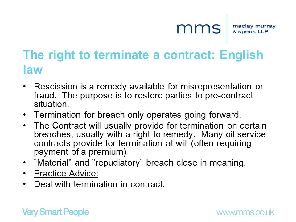 The right to terminate a contract: English law