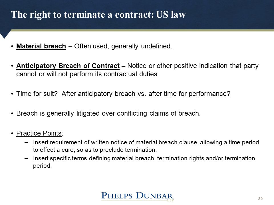 The right to terminate a contract: US law
