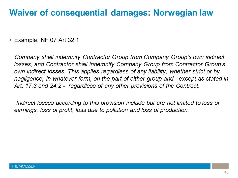 Waiver of consequential damages: Norwegian law