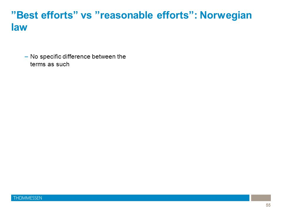 Best efforts vs reasonable efforts : Norwegian law