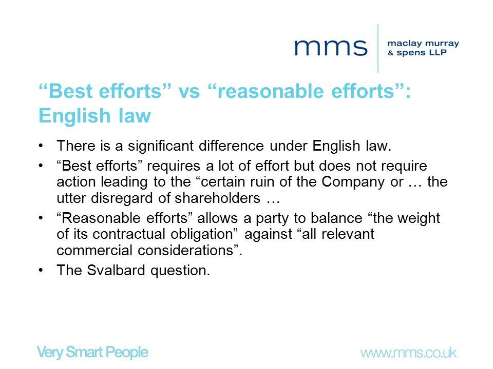 Best efforts vs reasonable efforts : English law