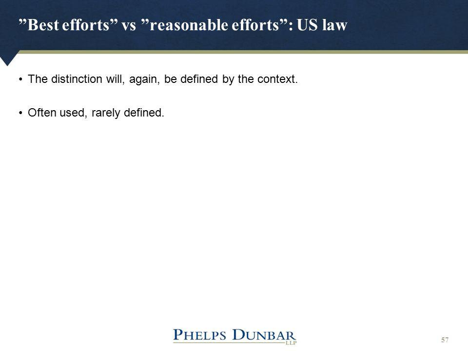 Best efforts vs reasonable efforts : US law