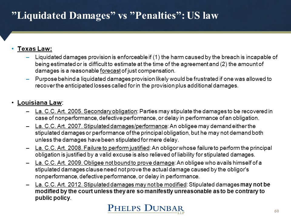 Liquidated Damages vs Penalties : US law