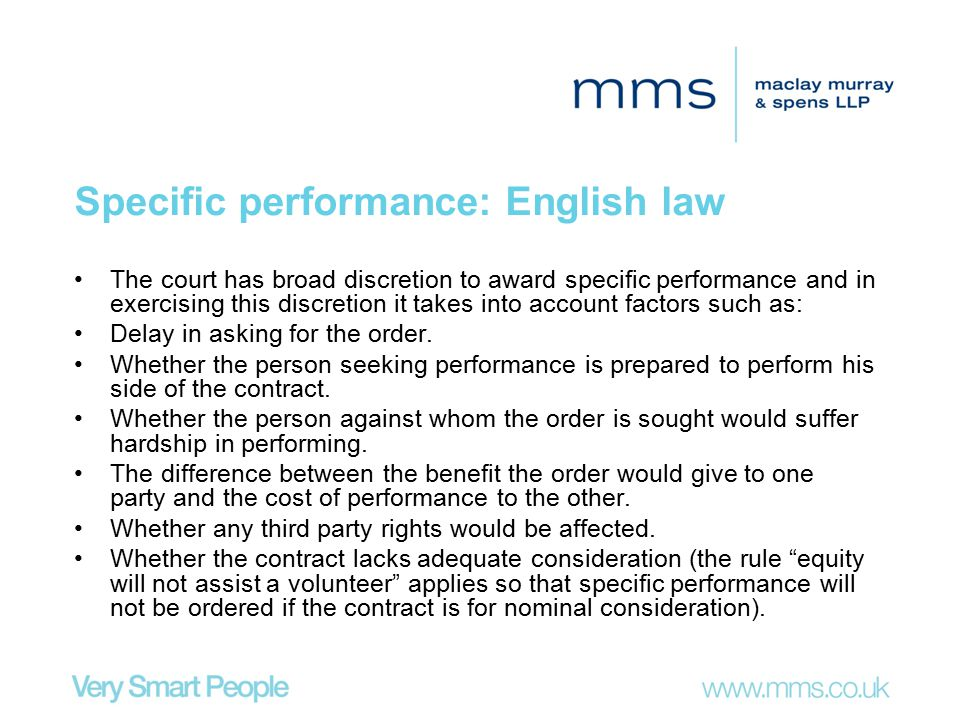 Specific performance: English law